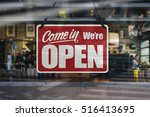 a business sign that says 'come ... | Shutterstock . vector #516413695