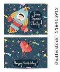 happy birthday cartoon greeting ... | Shutterstock .eps vector #516415912