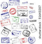 a mix of passport stamps from... | Shutterstock .eps vector #51643207