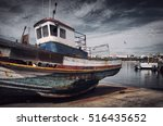 old fishing boat with peeling...   Shutterstock . vector #516435652