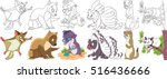 cartoon animal set. childish... | Shutterstock .eps vector #516436666