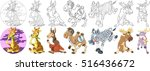 Cartoon Animal Set. Childish...