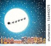 christmas house snowfall at the ...   Shutterstock .eps vector #516443275
