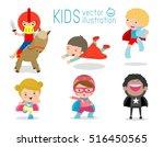 superhero kids with costumes... | Shutterstock .eps vector #516450565