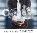 businessman with financial...   Shutterstock . vector #516462676