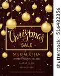 christmas sale flyer template.... | Shutterstock .eps vector #516482356