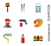 painting icons set. flat... | Shutterstock .eps vector #516492328