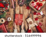merry christmas and happy... | Shutterstock . vector #516499996