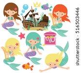 cute mermaid vector cartoon... | Shutterstock .eps vector #516503446