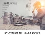 double exposure of us tax form... | Shutterstock . vector #516510496
