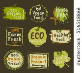 organic products and vegan food ... | Shutterstock .eps vector #516518866