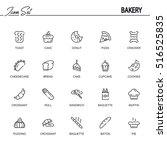 bakery flat icon set.... | Shutterstock .eps vector #516525835
