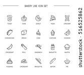 bakery flat icon set.... | Shutterstock .eps vector #516525862