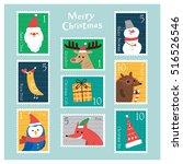 set of christmas postage stamps....