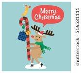 merry christmas reindeer.... | Shutterstock .eps vector #516531115