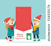 merry christmas with little boy ... | Shutterstock .eps vector #516533176