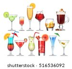 vector set of stemware and... | Shutterstock .eps vector #516536092