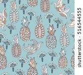 pineapple seamless pattern.... | Shutterstock .eps vector #516544555