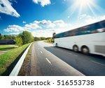 Bus On Asphalt Road In...