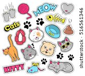 funny cats badges  patches ... | Shutterstock .eps vector #516561346