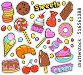 sweet food badges set with... | Shutterstock .eps vector #516561388