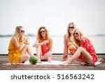 women enjoying beautiful summer ... | Shutterstock . vector #516563242
