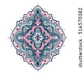 indian floral paisley medallion ... | Shutterstock .eps vector #516570382