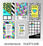 memphis cards with geometric... | Shutterstock .eps vector #516571108