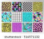 memphis seamless patterns with... | Shutterstock .eps vector #516571132