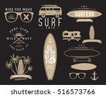 set of vintage surfing graphics ... | Shutterstock . vector #516573766