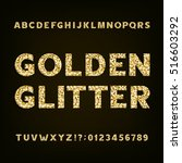 golden glitter alphabet font.... | Shutterstock .eps vector #516603292