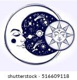 vintage hand drawn moon  sun... | Shutterstock .eps vector #516609118