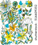 coloring book page. hand drawn... | Shutterstock .eps vector #516609352