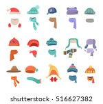 set of hats and scarves for... | Shutterstock .eps vector #516627382