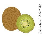 kiwi fruit vector illustration. ... | Shutterstock .eps vector #516629986