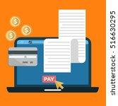 online digital invoice laptop... | Shutterstock .eps vector #516630295