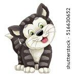 cartoon happy cat is standing... | Shutterstock . vector #516630652