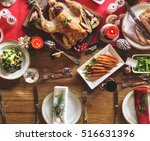 christmas table decoration... | Shutterstock . vector #516631396
