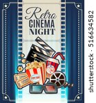 retro cinema club night... | Shutterstock .eps vector #516634582