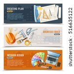 three horizontal banners with... | Shutterstock .eps vector #516635122