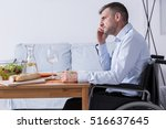 pensive and sad man on a... | Shutterstock . vector #516637645