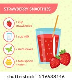 strawberry smoothie recipe with ...   Shutterstock .eps vector #516638146