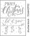 set of two christmas cards with ... | Shutterstock .eps vector #516642952
