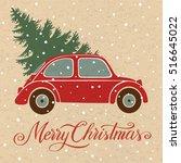 christmas illustration with... | Shutterstock .eps vector #516645022