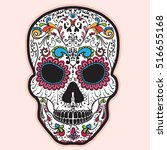colorful mexican sugar skull.... | Shutterstock .eps vector #516655168