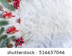 christmas gift on snow  red bow | Shutterstock . vector #516657046