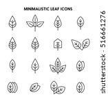 leaves thin line icon set | Shutterstock . vector #516661276