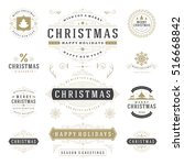 christmas labels and badges... | Shutterstock .eps vector #516668842