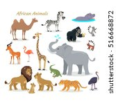 african fauna species. cute... | Shutterstock .eps vector #516668872