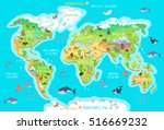world geographical map with... | Shutterstock .eps vector #516669232